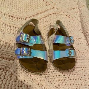 Toddler girl Velcro metallic sandals Size:4